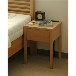二口コンセント付きナイトテーブル/ベッドサイドテーブル 【ナチュラル】 幅30cm 木製 引き出し付き