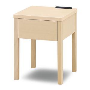 二口コンセント付きナイトテーブル/ベッドサイドテーブル 【オークホワイト】 幅30cm 木製 引き出し付き