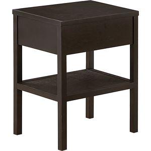 天然木ナイトテーブル/ベッドサイドテーブル 【ブラウン/タモ】 幅30cm 引き出し付き