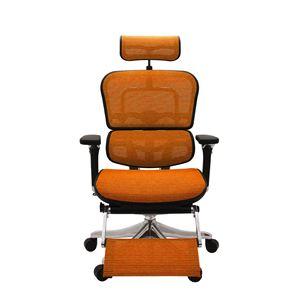 オフィスチェア アームレスト付き ランバーサポート付き Ergohuman PRO ottoman (エルゴヒューマンプロ オットマン) オットマン内蔵 オレンジ