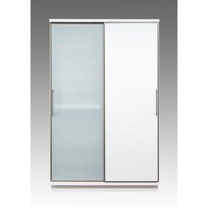 【開梱設置費込】食器棚 ACシリーズ 122cm幅 目隠し収納 キッチンボード ガラス戸 ホワイトボード 【日本製】