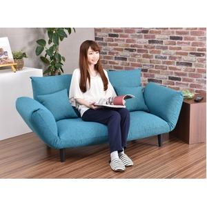 コンフォートソファー ターコイズ色 日本製  二人掛け ポケットコイル カウチ ソファーベッド
