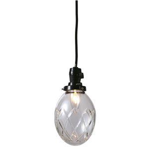 切子たまご矢来ランプ/ペンダントライト 【クリアー】 直径13×高さ16cm ガラス 〔インテリア照明器具〕