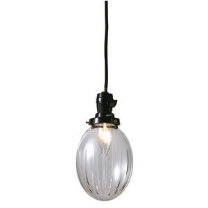 切子たまご棒ランプ/ペンダントライト 【クリアー】 直径13×高さ16cm ガラス 〔インテリア照明器具〕