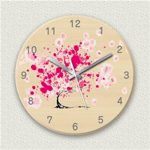 壁掛け時計/デザインクロック 【筆サクラ】 直径30cm 木材/メープル調素材 『MYCLO』 〔インテリア雑貨 贈り物 什器〕