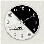 壁掛け時計/デザインクロック 【シルエットネコ】 直径30cm アクリル素材 『MYCLO』 〔インテリア雑貨 贈り物 什器〕
