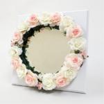 花笑みフラワーリースミラー(白花・白木板)