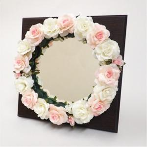 花笑みフラワーリースミラー(白花・茶木板)