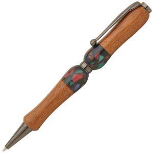 日本製 Acrylic&Woodハンドメイドボールペン 【クロスタイプ/芯:0.7mm】かりん×BK ティンバーネオン