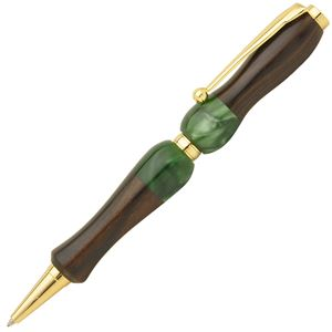 日本製 Acrylic&Woodハンドメイドボールペン 【クロスタイプ/芯:0.7mm】黒檀×GR エボニーグリーン