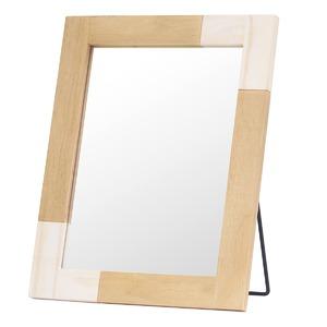 ナチュラルテイスト デスクミラー/卓上鏡 【ホワイト】 幅30cm 枠:パイン材 飛散防止加工 『KACCO』