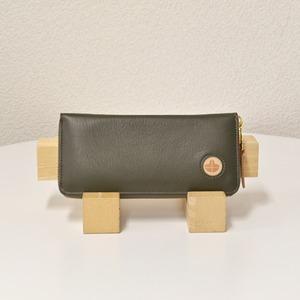 Riton3辺ファスナーAYAレザー財布(S)/オリーブ(日本製)