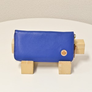 Riton3辺ファスナーAYAレザー財布(M)/ブルー(日本製)