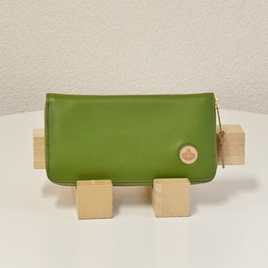 Riton3辺ファスナーAYAレザー財布(M)/グリーン(日本製)