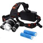 Tomo Light(トモライト) LEDヘッドライト ジョギング ウォーキング 自転車 釣り 三眼ライト PSE認証 18650型リチウムイオンバッテリー 2本付属【2個セット】