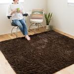 ロングパイル ラグマット/絨毯 【ブラウン 約3畳 約185cm×230cm】 洗える ホットカーペット 床暖房対応 『シュプレ』