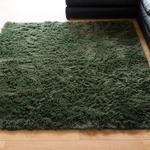 ロングパイル ラグマット/絨毯 【グリーン 約2畳 約185cm×185cm】 洗える ホットカーペット 床暖房対応 『シュプレ』