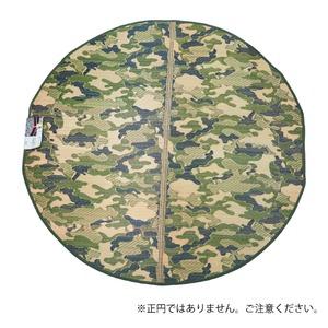 円形 迷彩 い草ラグ  ラグマット/絨毯 【グリーン  約1.6畳 約176cm×176cm円形】防カビ加工 『男前ラグ』