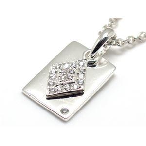 キュービックジルコニア×ダイヤ&トランプカードモチーフ・シルバーペンダント 40cm チェーン付き ZZPS-675wd-c40