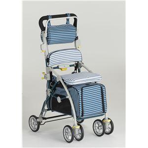 フランスベッド ペットとお散歩できるペットカート ブレーキ 杖ホルダー付き ラクティブペット しま ブルー