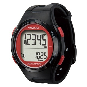電波時計内蔵腕時計型 ウォッチ万歩計 DEMPA MANPO ブラック×レッド TM500-BKR