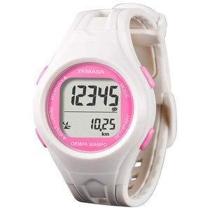 電波時計内蔵腕時計型 ウォッチ万歩計 DEMPA MANPO ホワイト×ピンク TM450-WP