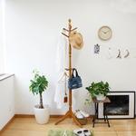 天然木 ポールハンガー/コートハンガー 【ブラウン】 高さ182cm 木製 アンティーク調