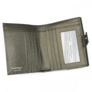 Ferragamo(フェラガモ) Wホック財布 GANCINI ICONA VITELL 22A960 433601 シルバー H10.5×W12×D2.5
