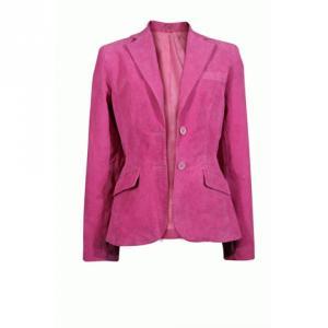 スーパーシルエット本革スウェードジャケット L ピンク