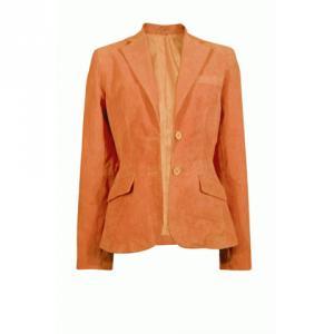 スーパーシルエット本革スウェードジャケット L オレンジ